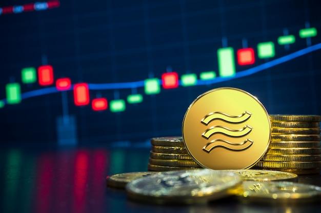 Conceito de negociação de troca de criptomoeda libra