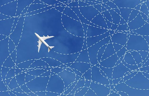 Conceito de negócio com avião e linha no céu