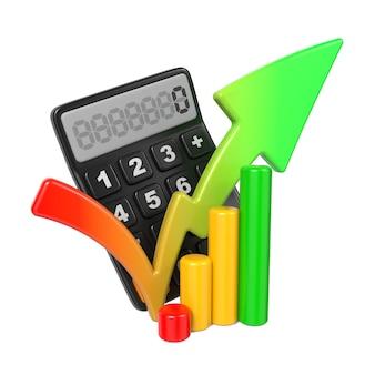Conceito de negócio com calculadora e diagrama de finanças. isolado no branco.
