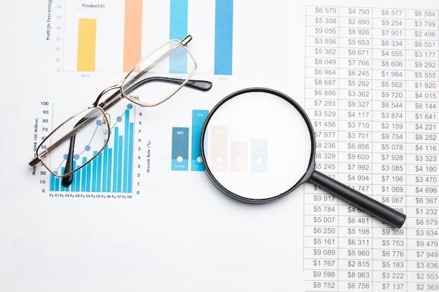 Conceito de negócio com lápis de óculos de calculadora e lupa em documentos. gráficos e gráficos de negócios