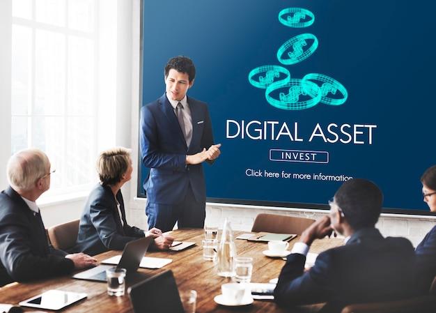 Conceito de negócio de dinheiro de finanças de ativos digitais