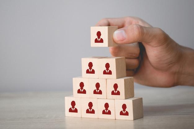 Conceito de negócio de gestão e recrutamento de recursos humanos, estratégia de negócios