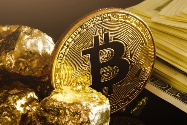 Conceito de negócio de ouro e notas de dólar de pepita