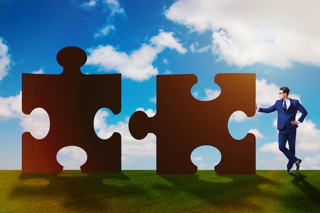 Conceito de negócio de quebra-cabeças para trabalho em equipe