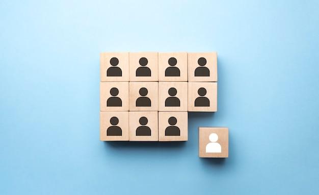 Conceito de negócio de recrutamento e gestão de recursos humanos, espaço de cópia