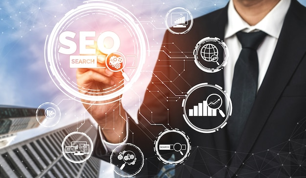 Conceito de negócio de seo search engine optimization