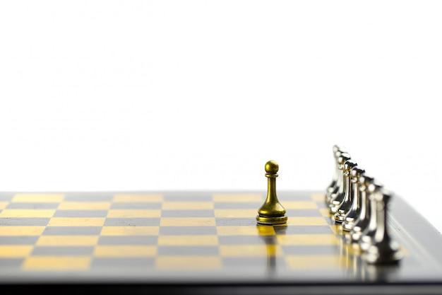 Conceito de negócio de xadrez, líder e sucesso