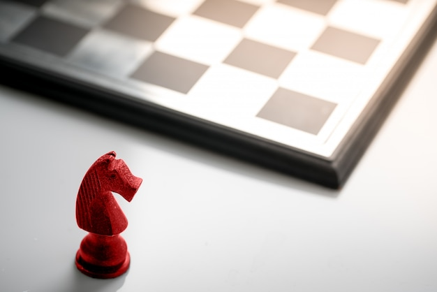 Conceito de negócio de xadrez, trabalho em equipe líder & sucesso