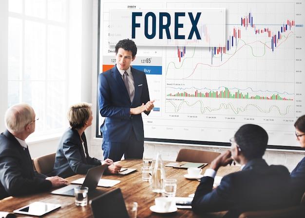 Conceito de negócio global do gráfico da bolsa de valores de forex