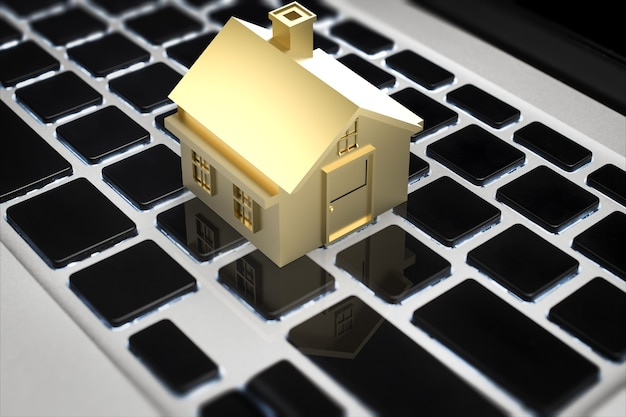 Conceito de negócio online com casa de renderização 3d no teclado