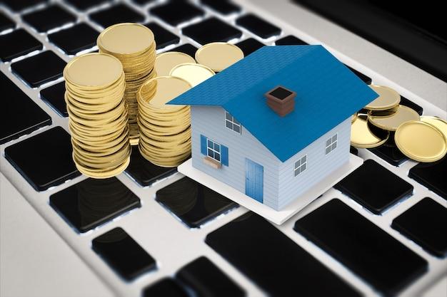 Conceito de negócio online com simulação de casa e pilha de moedas