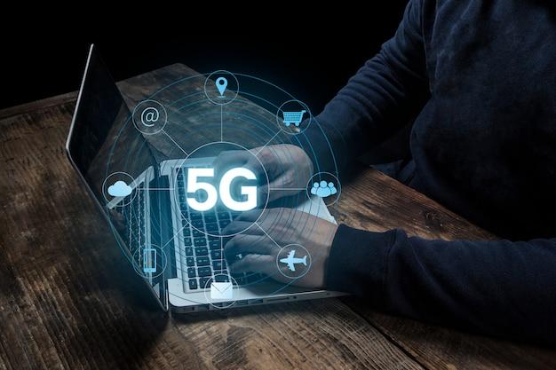 Conceito de negócio sem fio móvel internet internet 5g