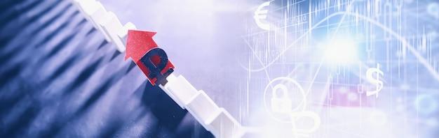 Conceito de negócios. a depreciação da moeda nacional da rússia. o símbolo do rublo. inflação e estagnação. colunas caindo abstratas simbolizando a economia do país.