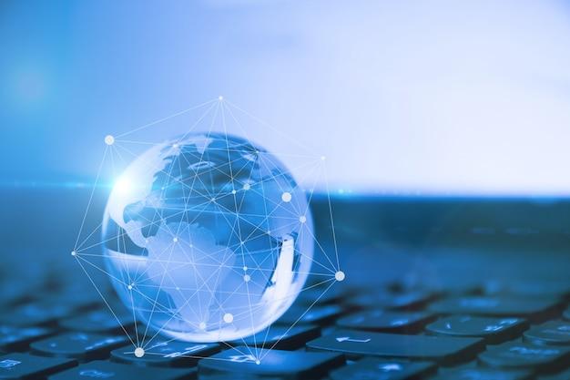 Conceito de negócios globais e internacionais. mundo conectado. conceito de rede social.