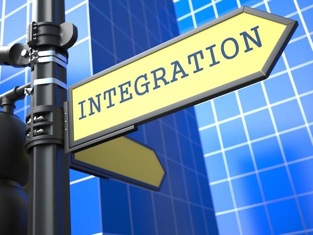 Conceito de negócios. integração cadastre-se no fundo azul.