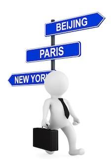 Conceito de negócios internacionais. empresário com sinalização de capitais de negócios um fundo branco
