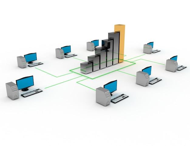 Conceito de negócios na internet. área de trabalho conectada ao gráfico de negócios