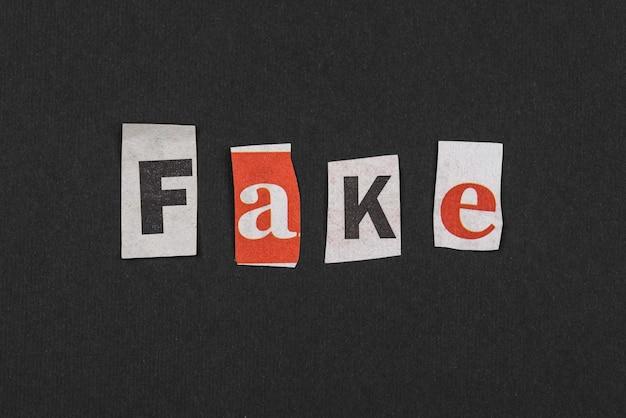Conceito de notícias falsas de vista superior