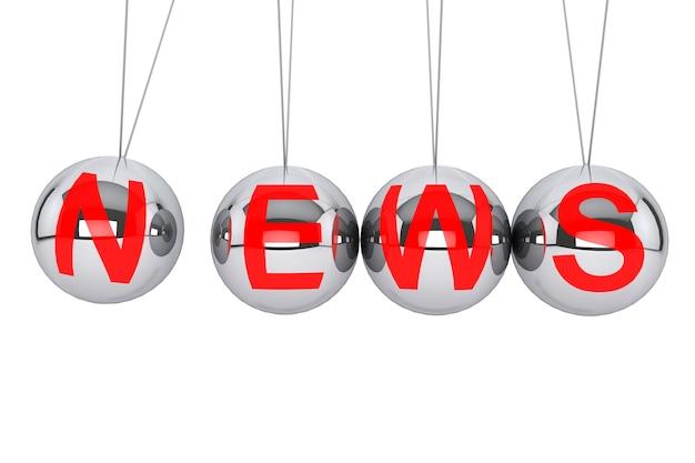 Conceito de notícias perpétuas. esfera de newton com sinal de notícias em um fundo branco