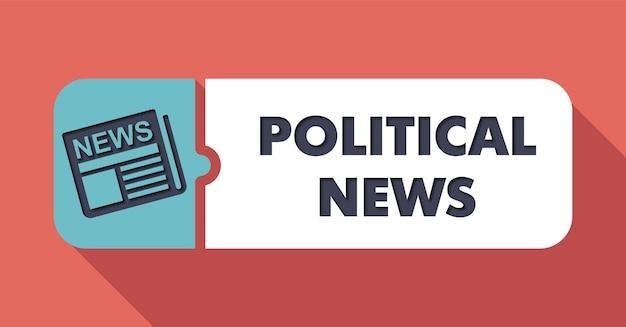 Conceito de notícias políticas em scarlet em flat design com longas sombras.