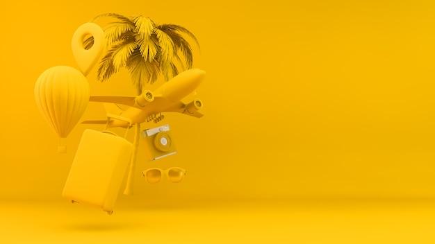 Conceito de objetos de viagem em amarelo