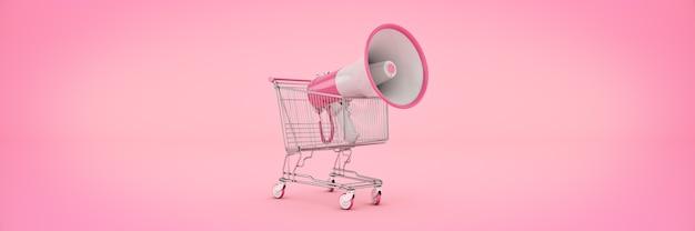Conceito de oferta de compras isolado megafone renderização em 3d