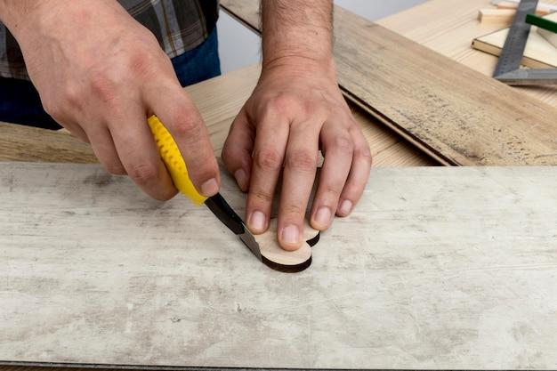 Conceito de oficina de carpintaria de close-up