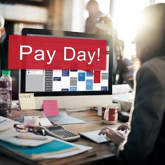 Conceito de orçamento de dinheiro de salário de dia de pagamento
