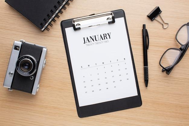 Conceito de organização de tempo com calendário