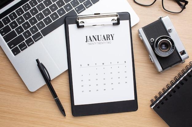 Conceito de organização de tempo com vista superior do calendário