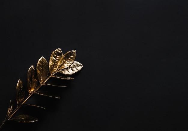 Conceito de ouro e folhas dispostas criativamente em uma mesa preta lisa.