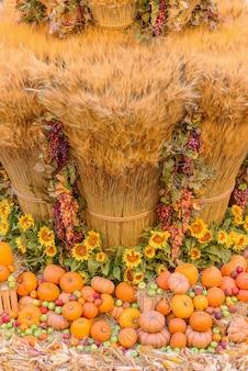 Conceito de outono com frutas e vegetais da estação. fundo de outono de vegetais sazonais no feno. foto vertical