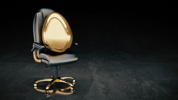 Conceito de ovo dourado renderização 3d de negócios