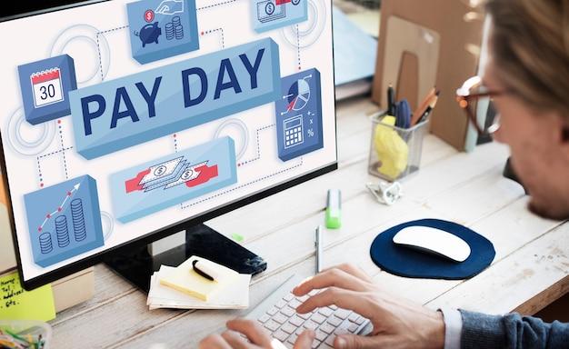 Conceito de pagamento de salários em dia de salário, cheque de pagamento, salários