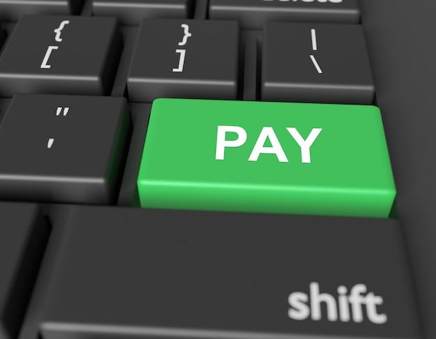 Conceito de pagamento. palavra pay no botão do teclado do computador