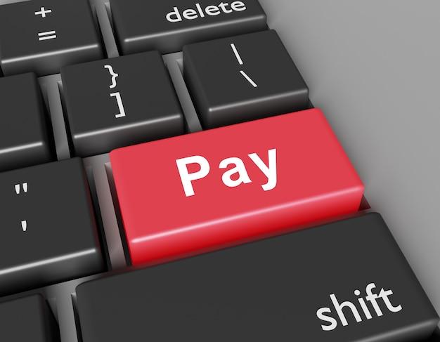 Conceito de pagamento. word pay no botão do teclado do computador