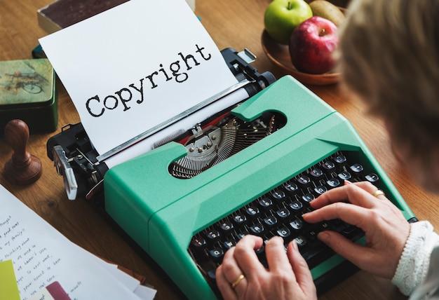 Conceito de palavra de marketing de marca de identidade de direitos autorais