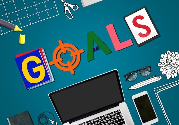 Conceito de palavra de metas de projeto de branding de marca