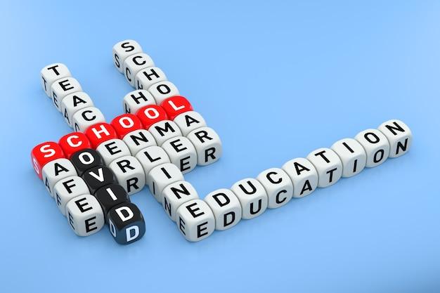 Conceito de palavras cruzadas de educação on-line sobre o fundo azul. renderização 3d