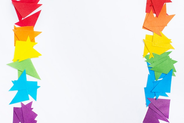 Conceito de papel de origami vista superior para o dia do orgulho
