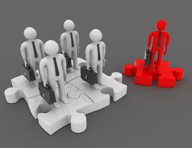 Conceito de parceria ou liderança. ilustração 3d