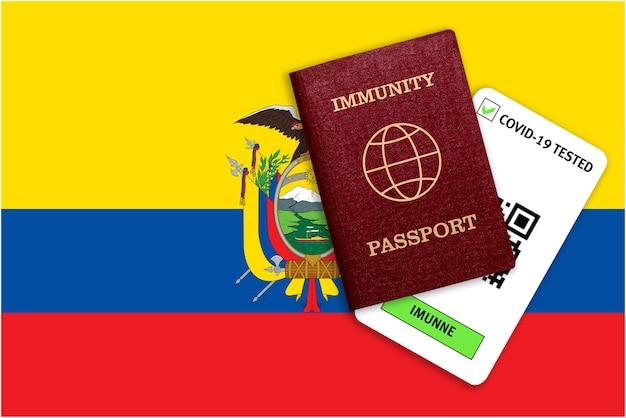 Conceito de passaporte de imunidade para viagens e resultado de teste para covid na bandeira do equador