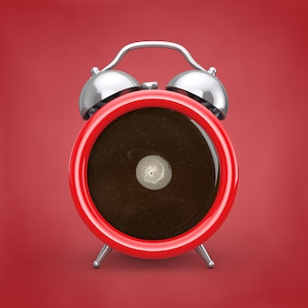 Conceito de pausa para o café. xícara de café como despertador em um fundo vermelho. renderização 3d