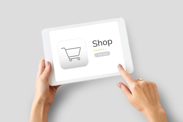Conceito de pedido de loja de compras online
