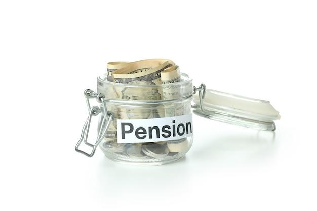 Conceito de pensão isolado no fundo branco