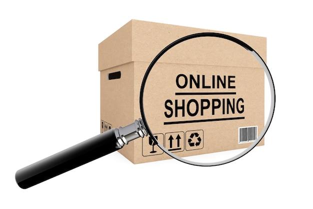 Conceito de pesquisa de compras online. caixa de papelão para envio com lupa em fundo branco