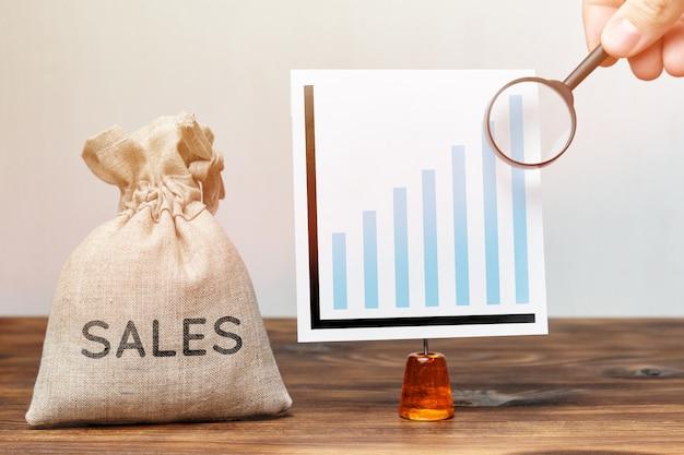 Conceito de pesquisa de crescimento de vendas. giz de dinheiro com gráfico e lupa.