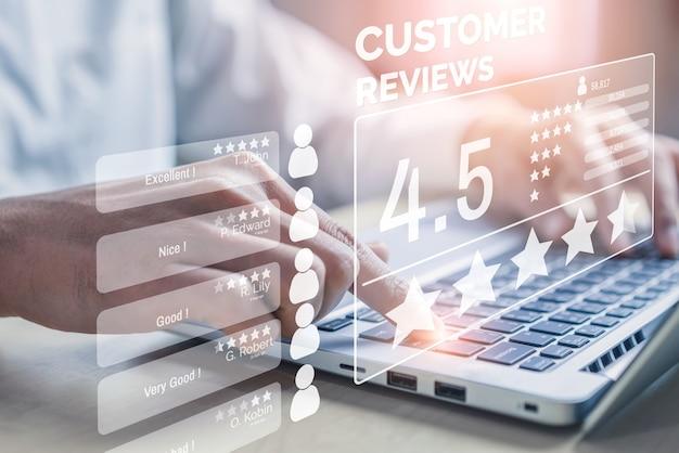 Conceito de pesquisa de feedback de satisfação de revisão do cliente.