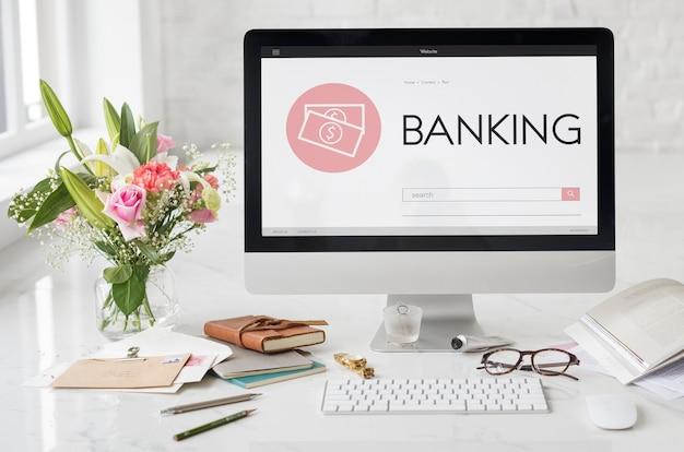 Conceito de pesquisa de texto de página da web de contabilidade de banco de compras