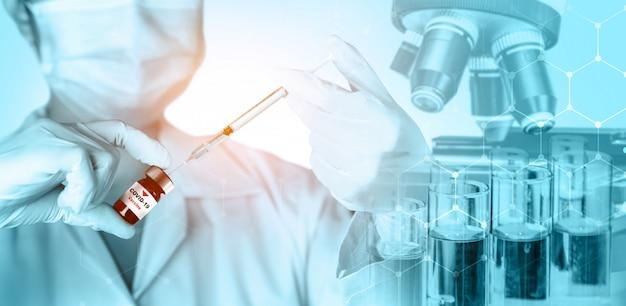 Conceito de pesquisa e desenvolvimento de vacina para teste médico de coronavírus covid-19